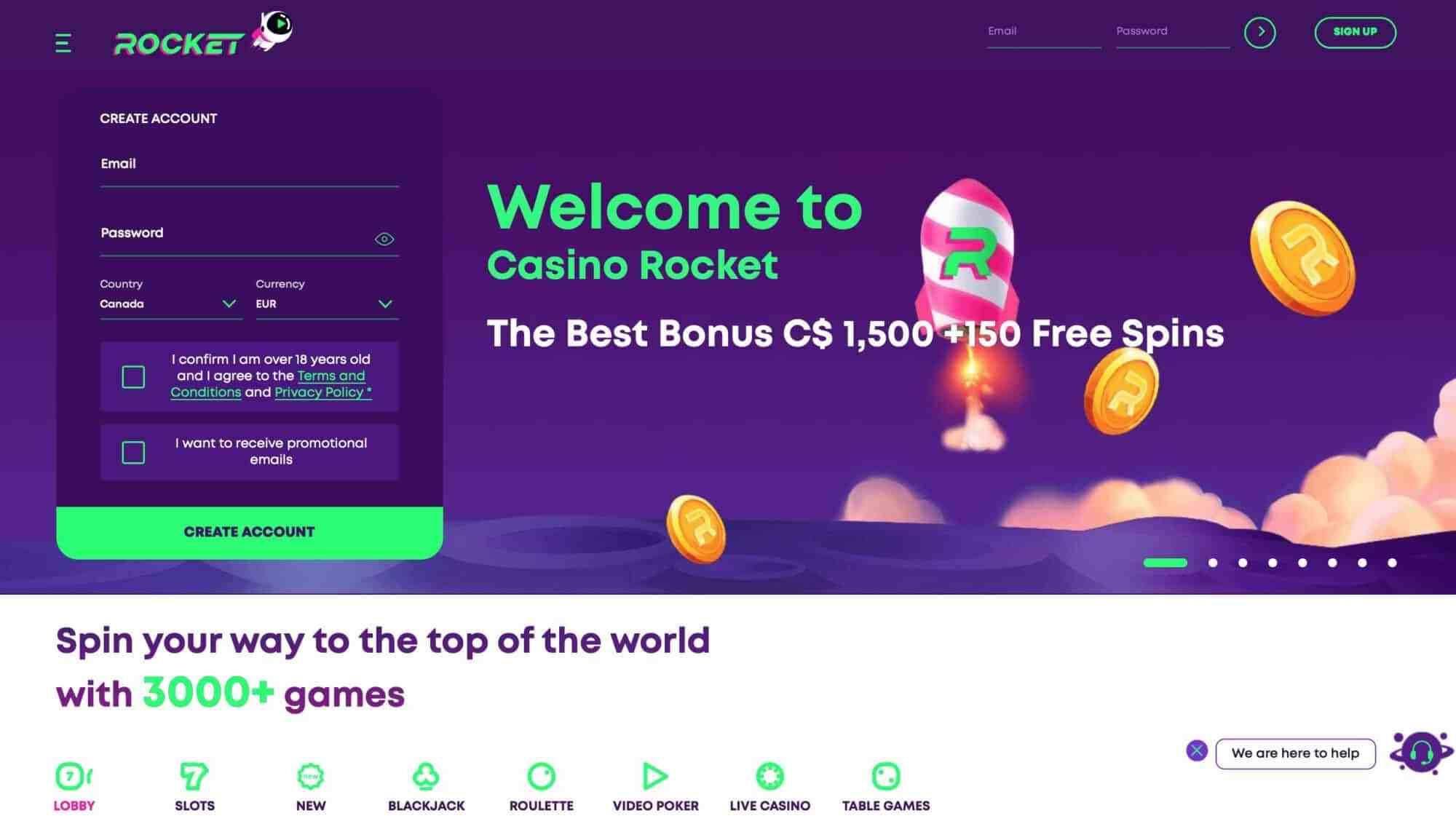 Casino Rocket - Get $1500 Deposit Bonus + 150 Free Spins
