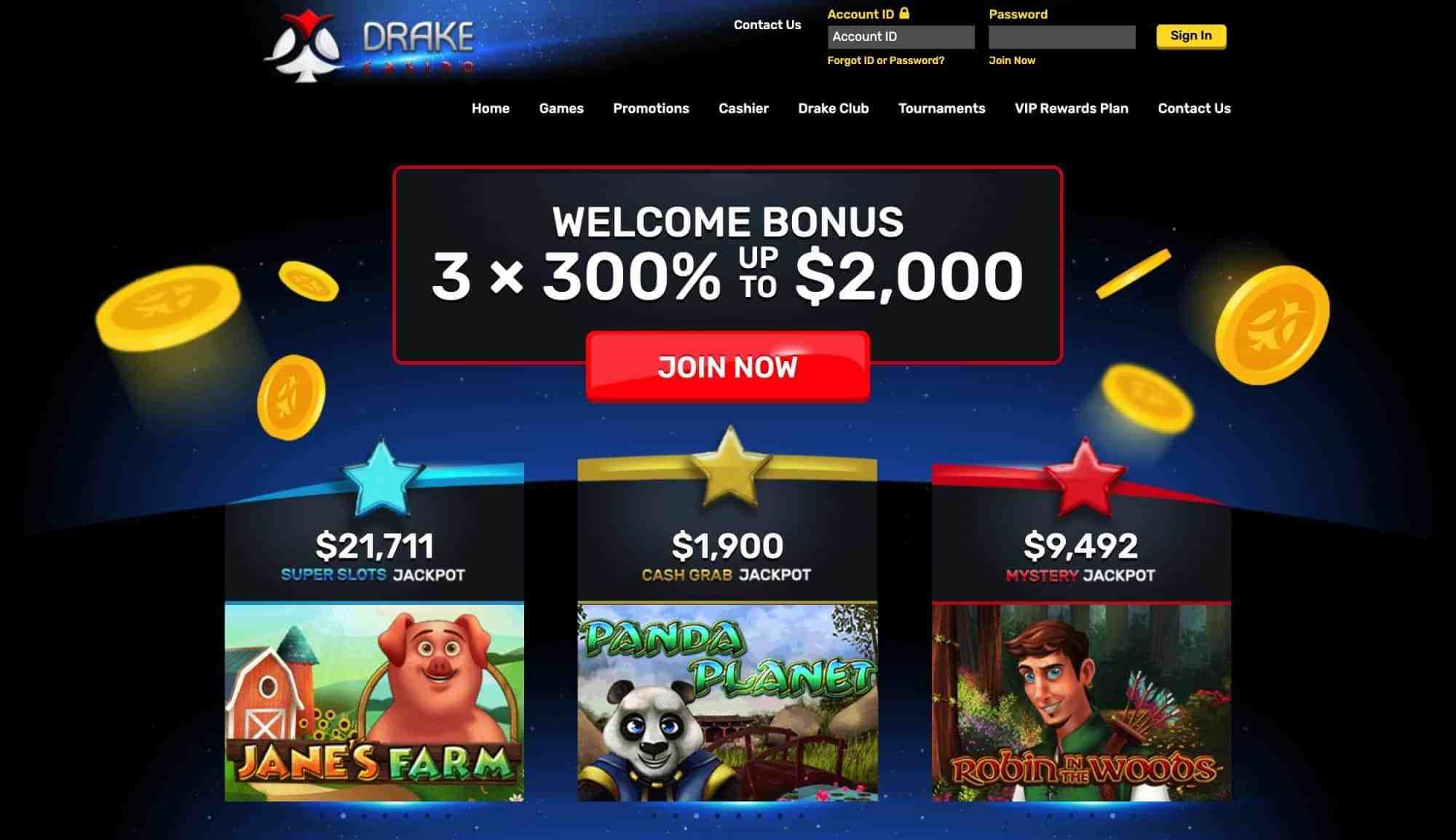 Drake Casino - Claim 540 Spins Or 900% Match Bonus!