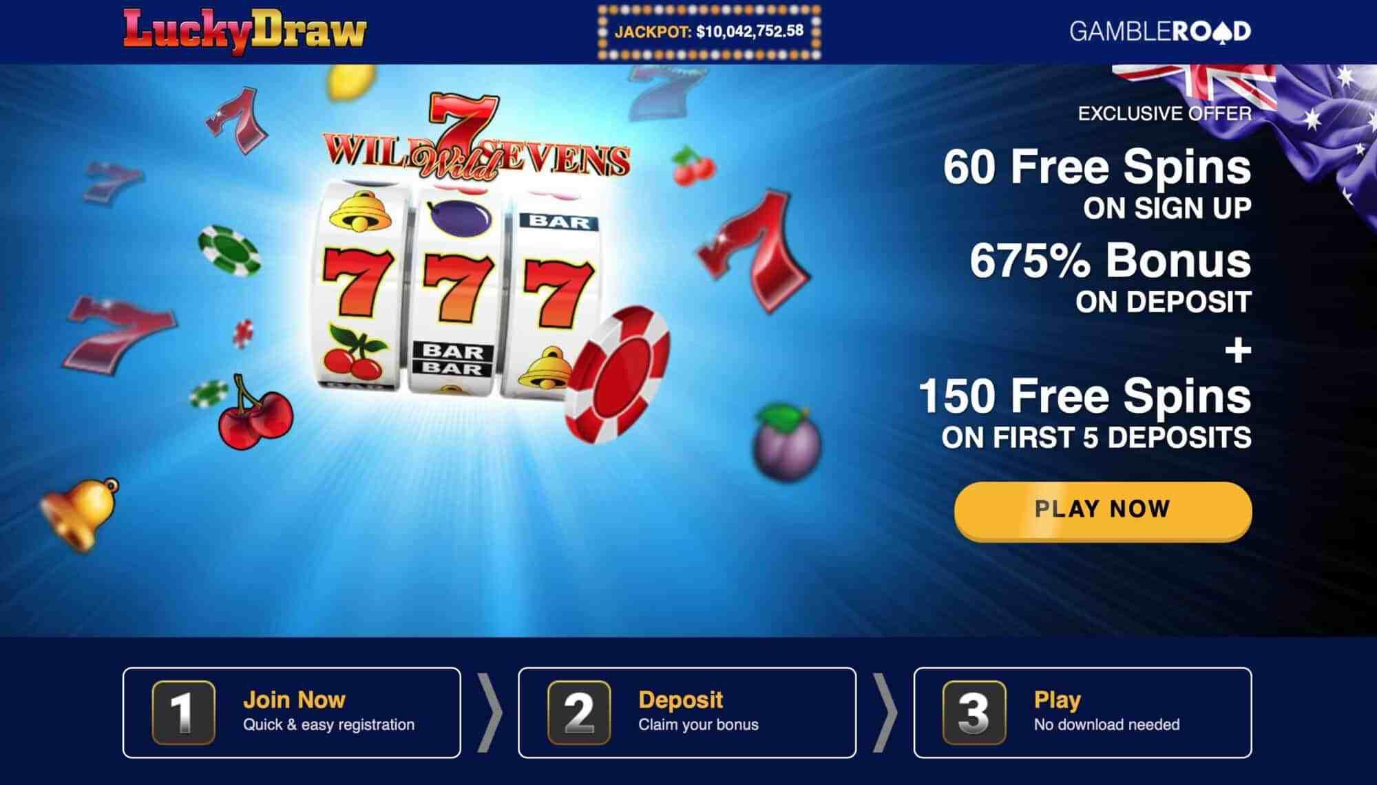 Luckydraw Casino - Get 150 Free Spins On Signup + 675% Deposit Bonus