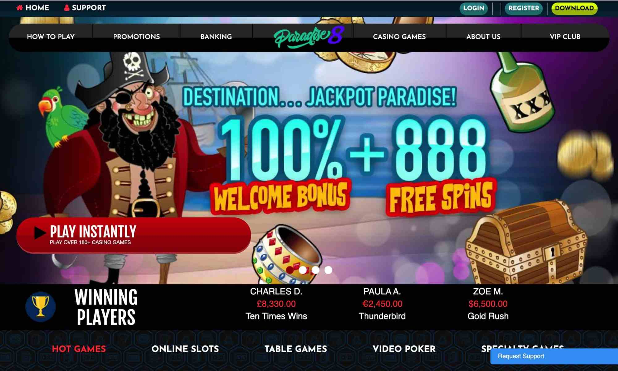 Paradise 8 Casino - 100% welcome offer + 888 free spins
