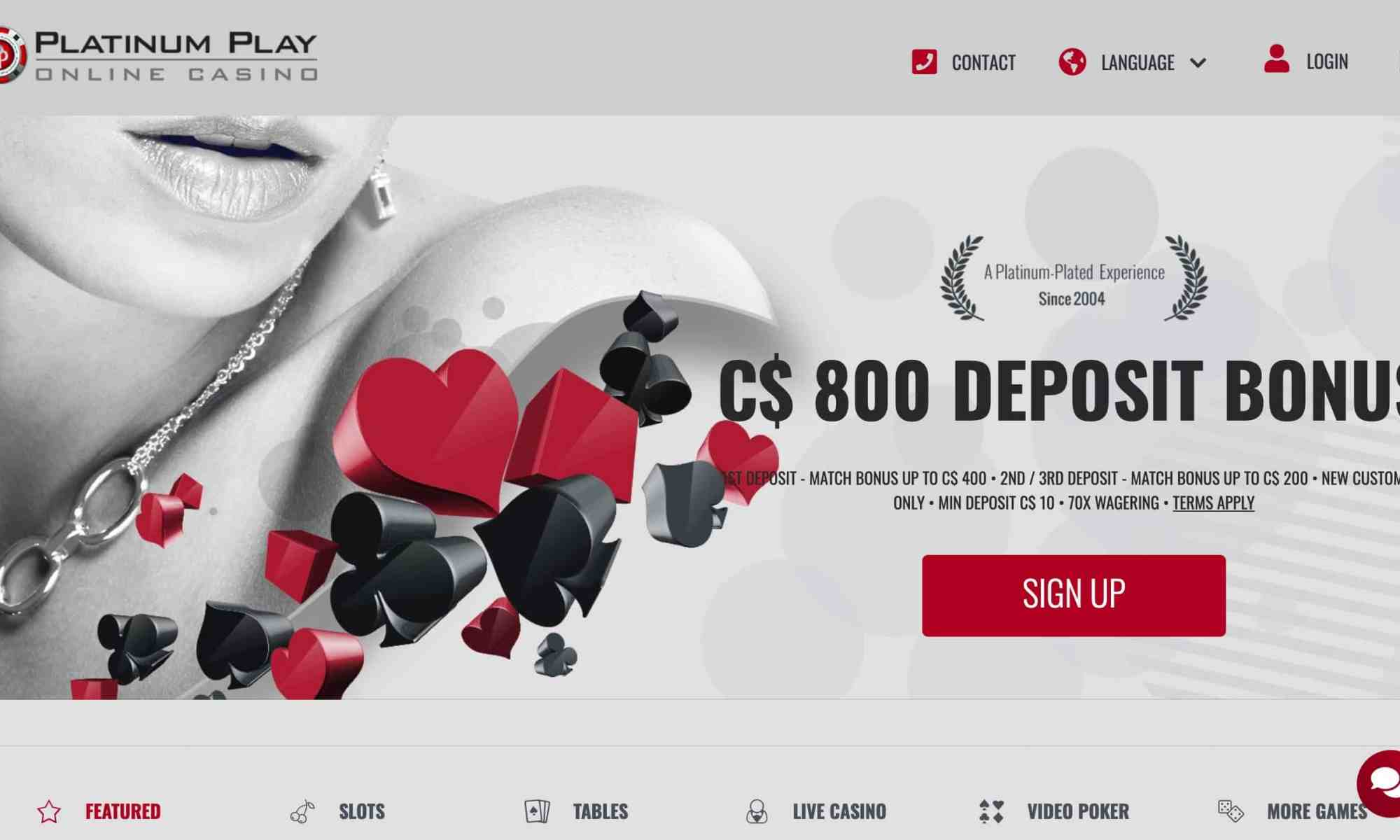 Platinum Play Casino - get up to $800 in match bonus