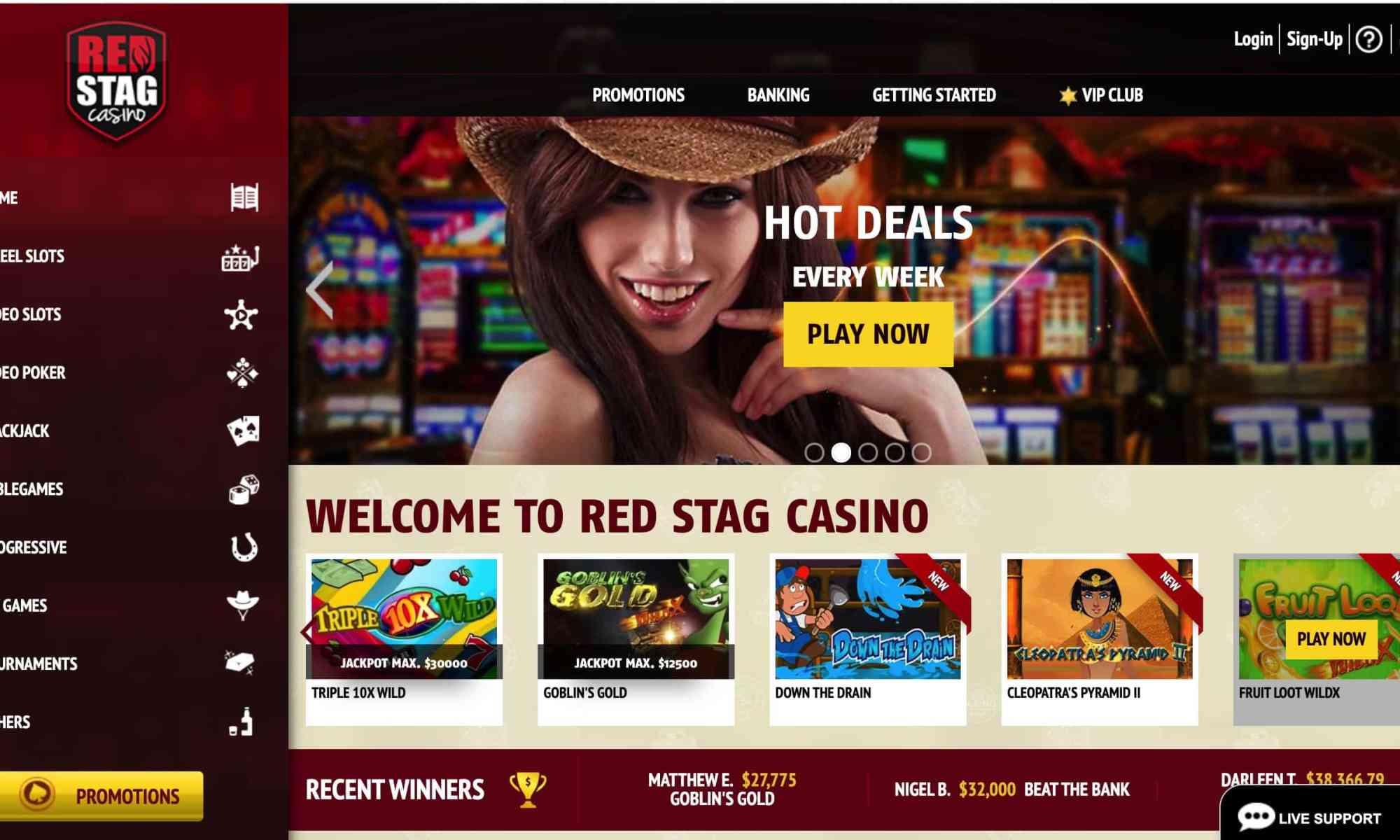 Red Stag Casino - $2500 Bonus + $5 Chip