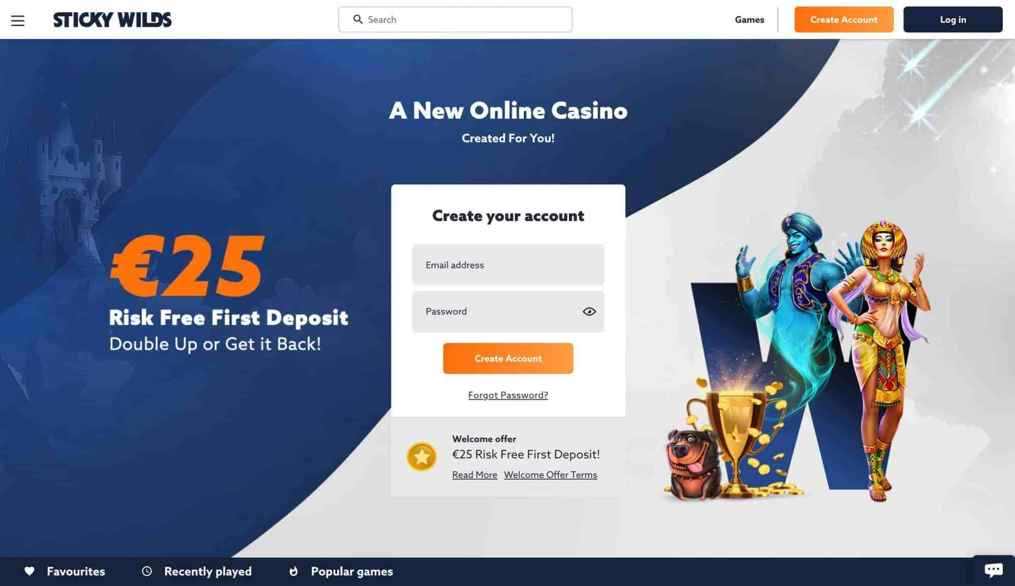 Stickywilds Casino - Get 25 Eur On Your First Deposit Now!
