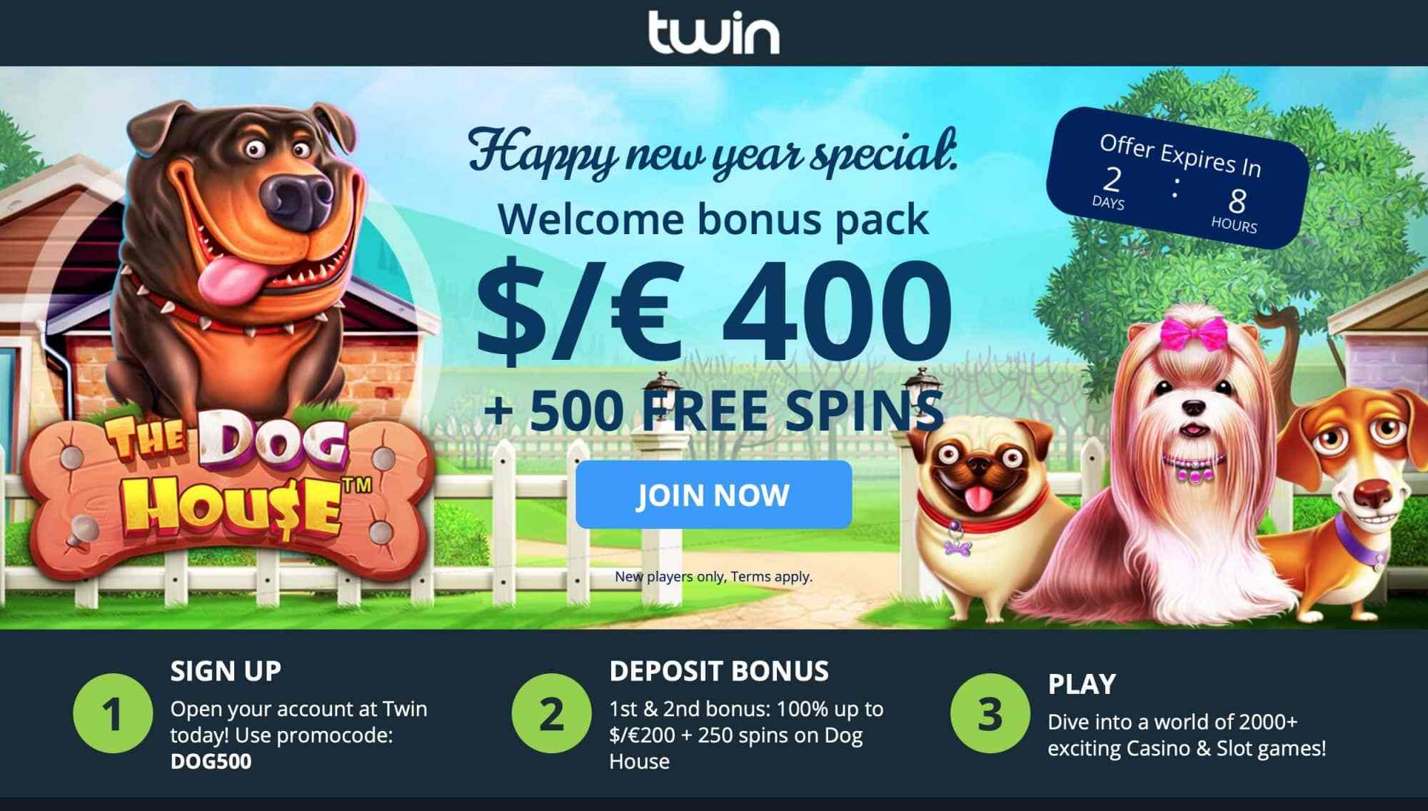 Twin Casino : get 200% match + 500 free spins on 2 deposits