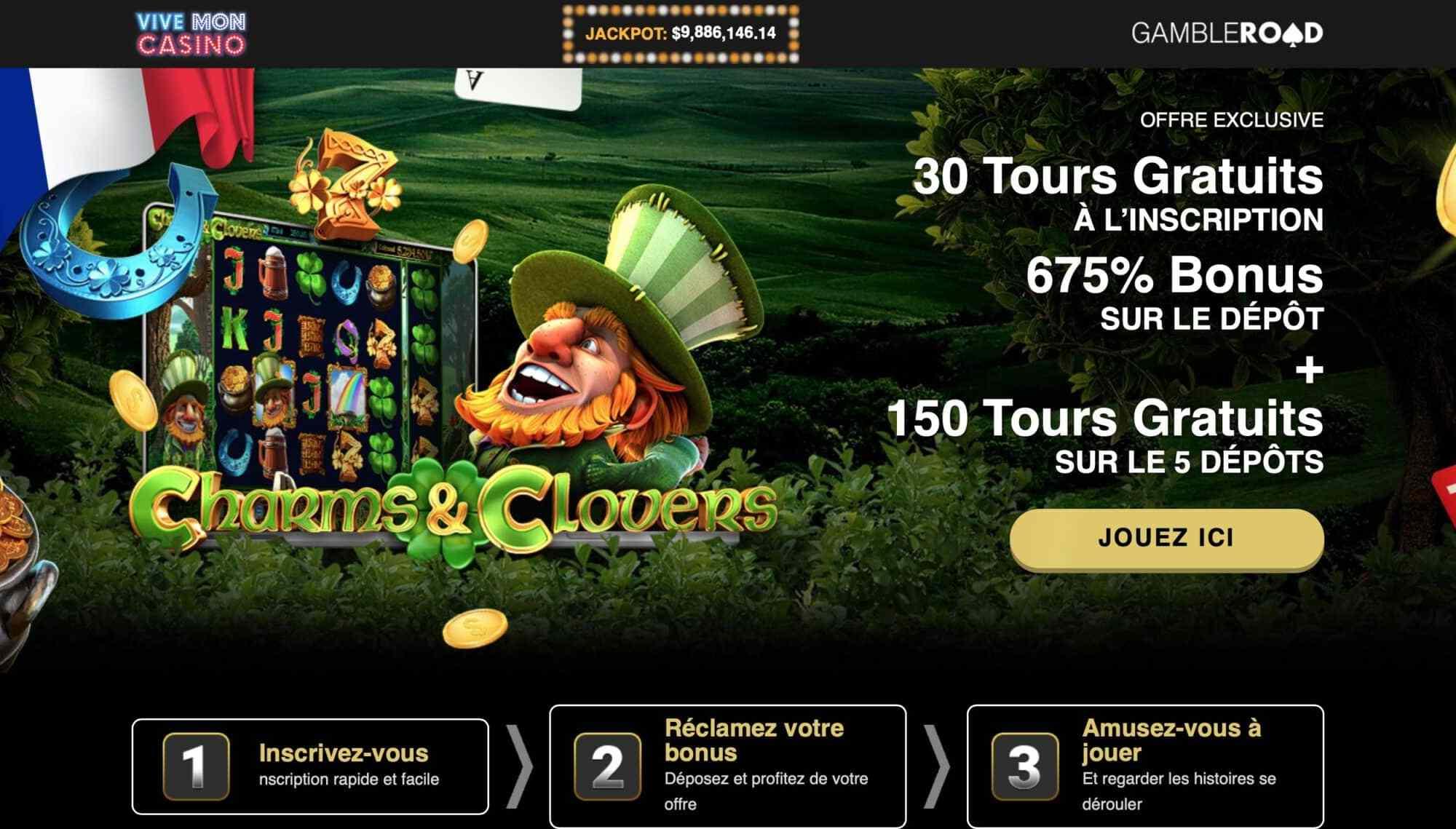 Vive Mon Casino - Get 30 Free Spins + 675% Deposit Bonus