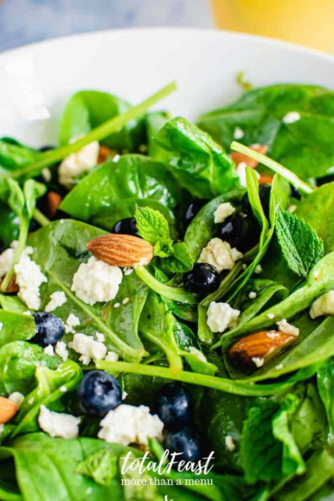 Blueberry feta Spinach Salad