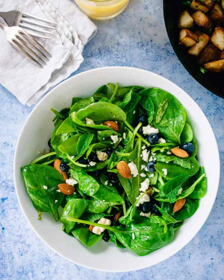 blueberry feta spinach salad, brunch menu for a crowd