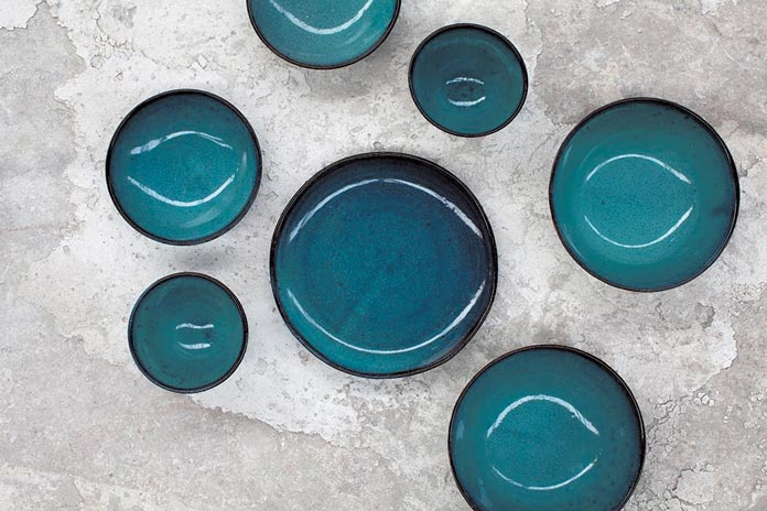 A sampling from Serax's artisanal stoneware collection Aqua.