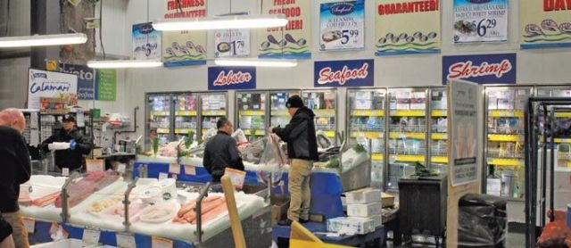 The teachers toured Jetro/Restaurant Depot's facility, including a massive seafood section that includes fresh and frozen options.