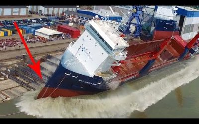VIDEO: Large Ship Launch Compilation | 12 Awesome Ship Launches, Fails and Close Calls