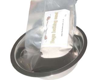 Bathng bowl and 1kg Sand product shot small pet care