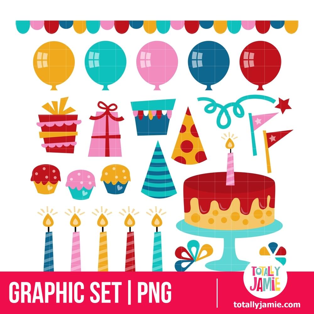 Retro Birthday Party Elements TotallyJamie SVG Cut