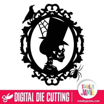 Halloween Skeleton Profile Frame TotallyJamie SVG Cut