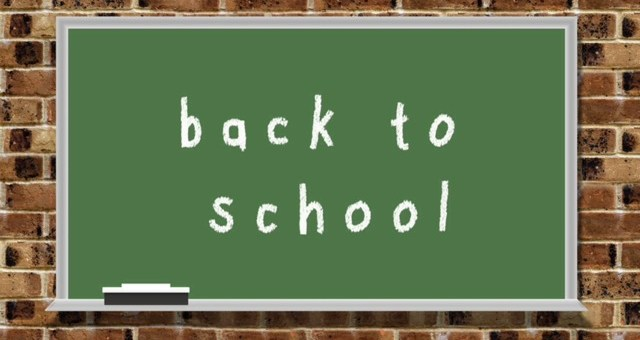 Back to school on a chalk board