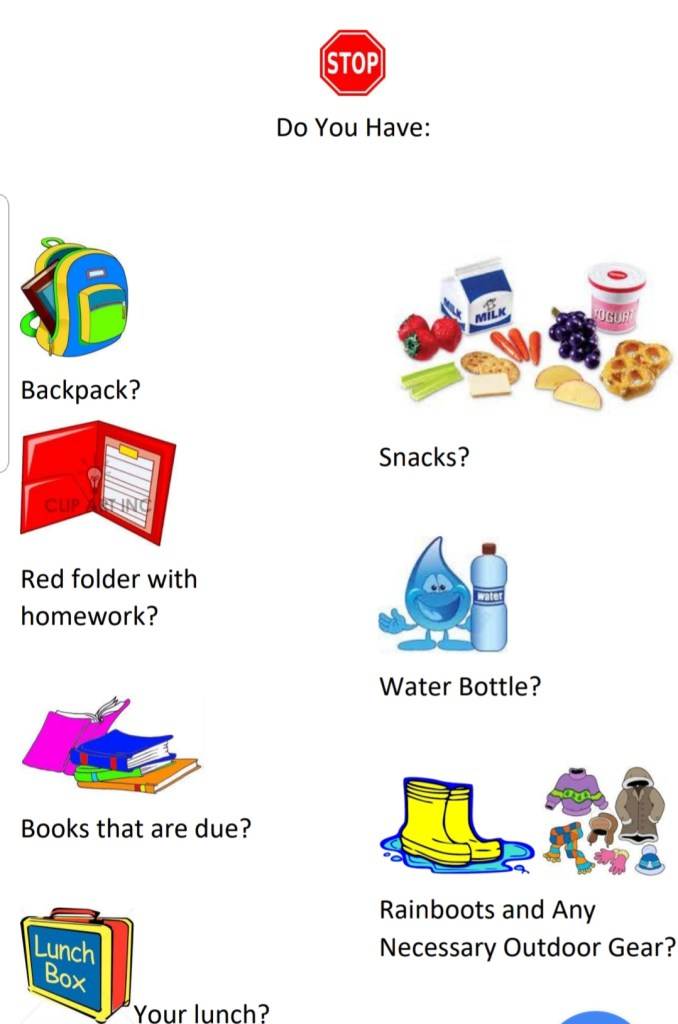 sign featuring items kids need to remember to bring to school