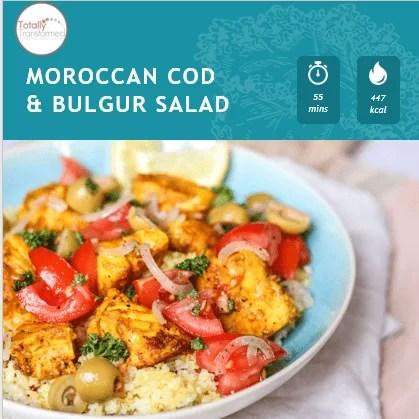 moroccan cod and bulgur salad