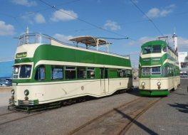 Blackpool Heritage Tram Services at Easter 2013. Two 'streamliners'.