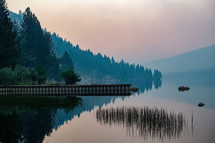 Hazy twilight at Upper Twin Lake.