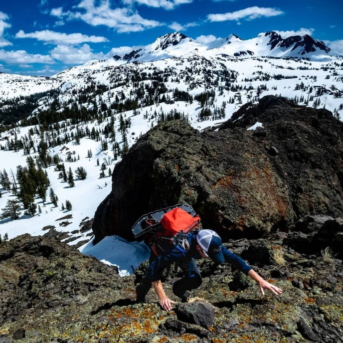 Morgan reaches for the summit of Black Butte on a perfect spring day of serendipitous hiking!