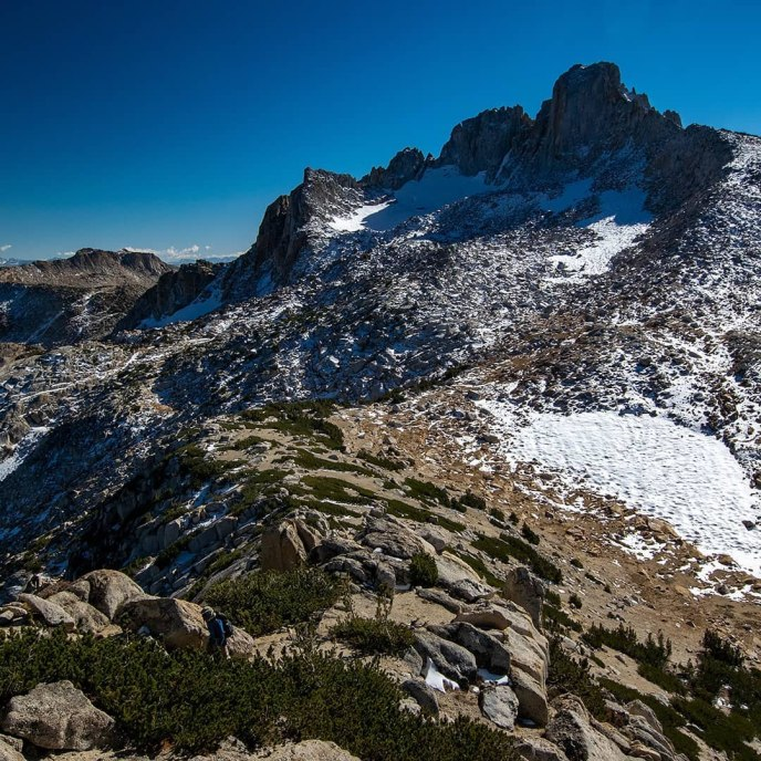 The remnants of Tower Glacier hide deep in the shade of Tower Peak's cirque.