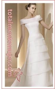 vestido de novia sofisticado y sensillo escote barco