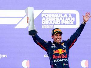Sergio Perez Red Bull F1 Grand Prin Azerbaijan 2021 Podium