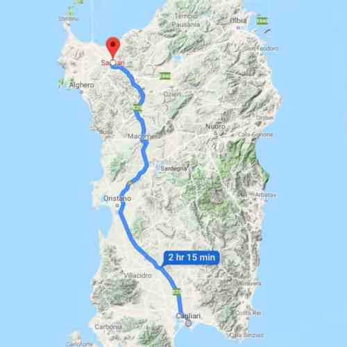 a map view of driving from cagliari to sassari