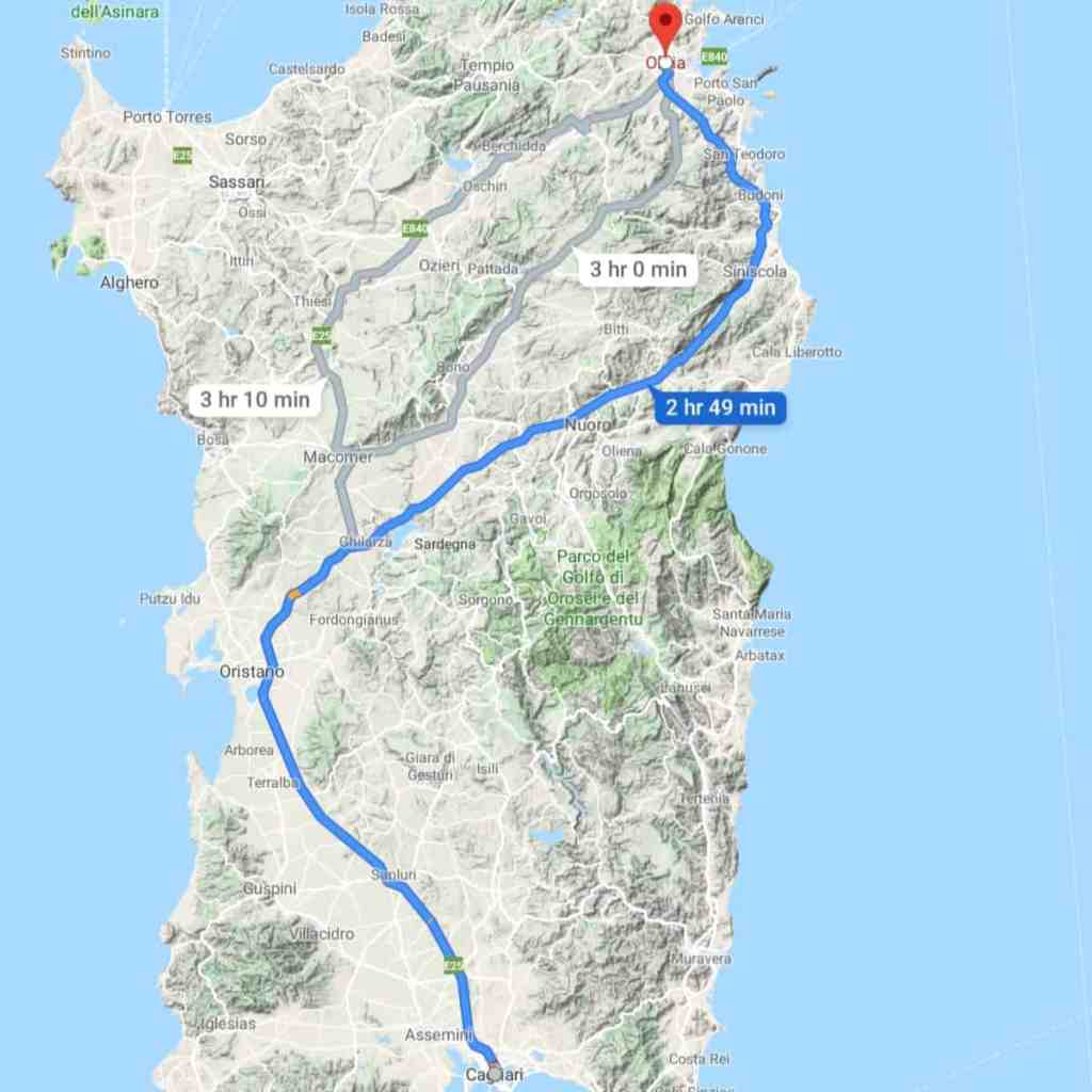 a map view of driving from cagliari to olbia