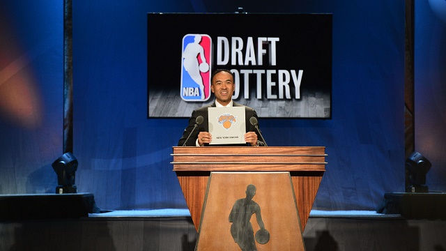 NEW YORK - MAY 19: NBA Deputy Commissioner Mark Tatum announces the New York Knicks selects fourth  during the 2015 NBA Draft Lottery on May 19, 2015 at the New York Hilton Midtown in New York City.  NOTE TO USER: User expressly acknowledges and agrees that, by downloading and/or using this photograph, user is consenting to the terms and conditions of the Getty Images License Agreement. Mandatory Copyright Notice: Copyright 2015 NBAE (Photo by David Dow/NBAE via Getty Images)