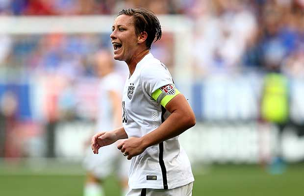 HARRISON, NJ - MAY 30:  Abby Wambach #20 of United States reacts in the second half against the South Korea during an international friendly match at Red Bull Arena on May 30, 2015 in Harrison, New Jersey.  (Photo by Elsa/Getty Images)