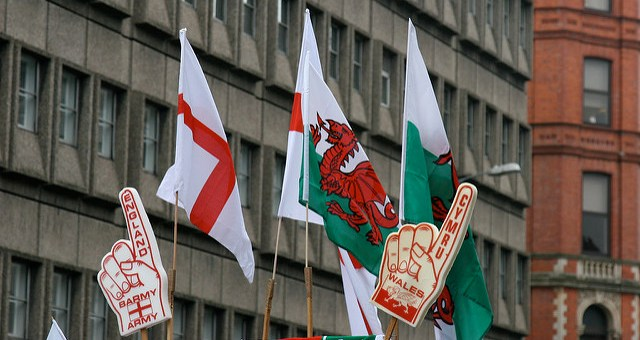 Photo of England and Wales flags taken before the Six Nations match between England and Wales on February 14, 2009.