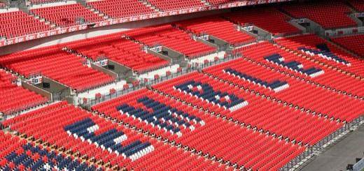 An interior view of Wembley Stadium