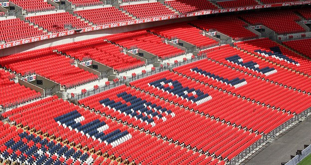 An interior view of Wembley Stadium