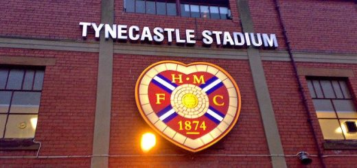 An exterior view of Tynecastle Stadium, home of Heart of Midlothian.