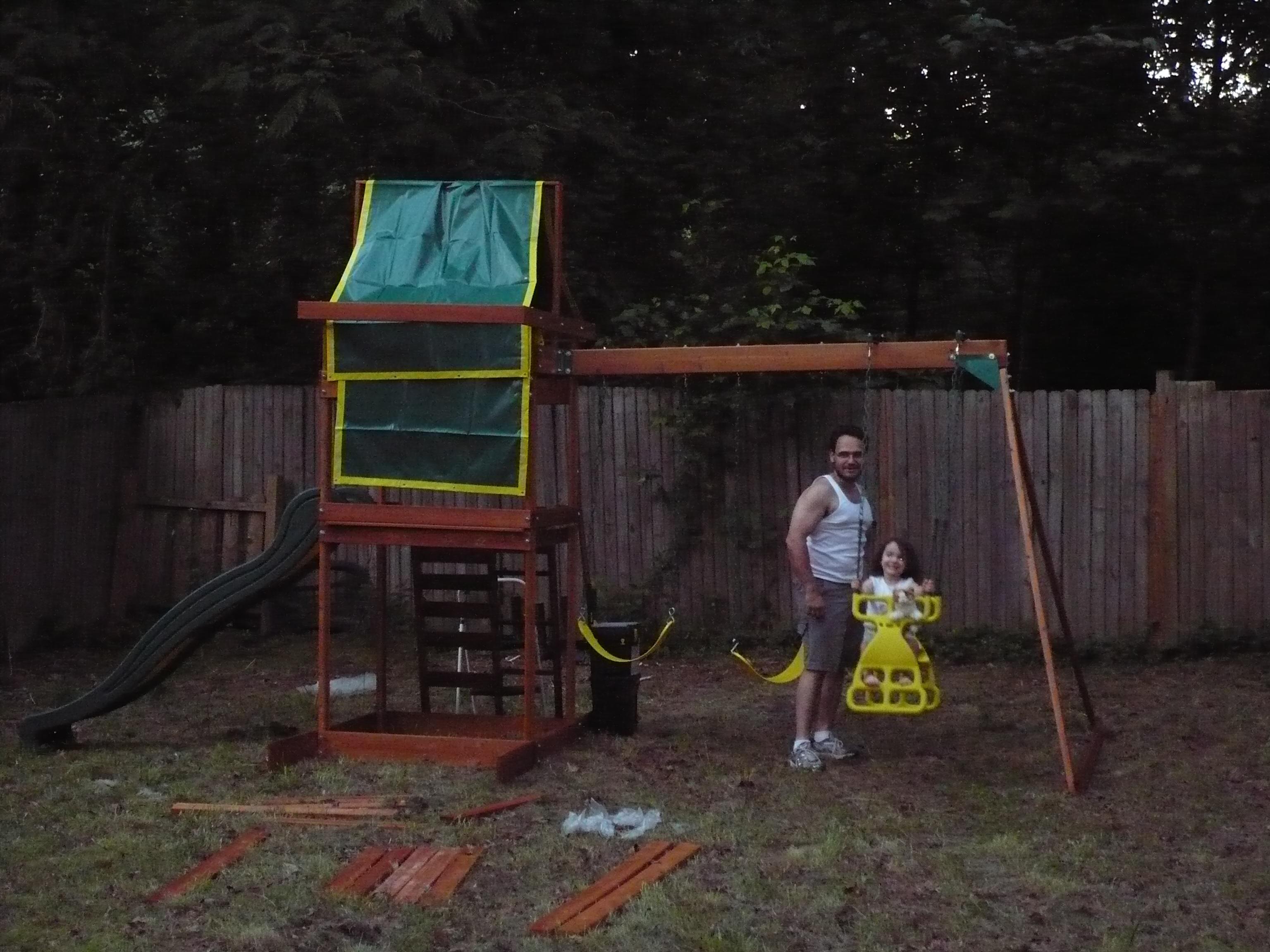 Daddy and Sasha on the new swing set