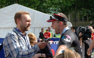 Tony Cullen being interview at the finish!