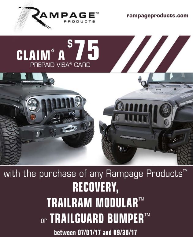 Rampage Products: $75 Prepaid Card with Recovery, Trailram Modular, or Trailguard Bumper Purchase