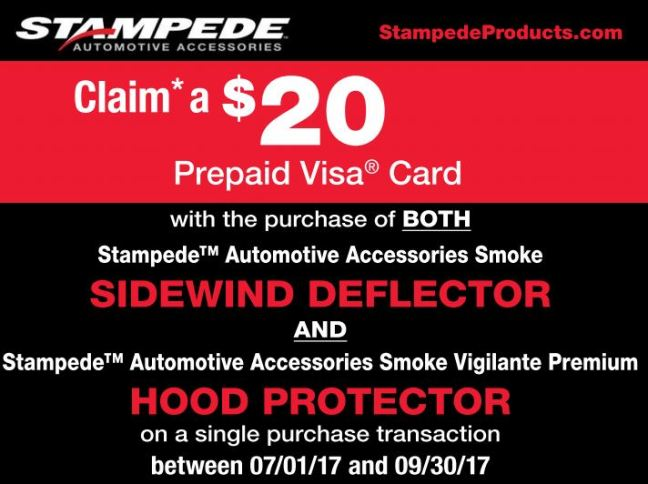 Stampede Automotive Accessories: $20 Prepaid Card with Purchase of Smoke Sidewind Deflector and Hood Protector