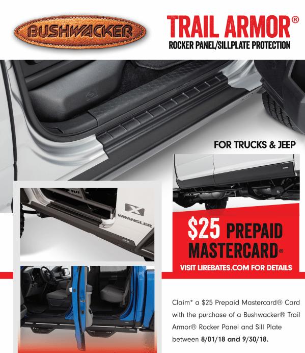 Bushwacker: Get a $25 Prepaid Card on Trail Armor Rocker Panels/Sillplates