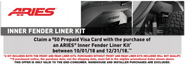 ARIES 50 Prepaid Card on Inner Fender Liner Kits