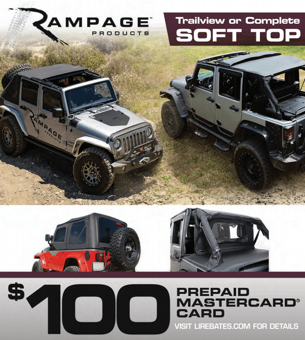 Rampage Products: Get a $100 Prepaid Card on Trailview and Complete Soft Top Purchases