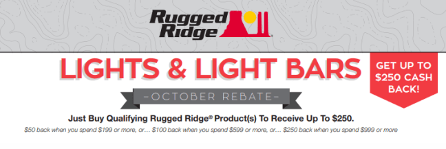 Rugged Ridge Up to $250 Back on Lights and Light Bars