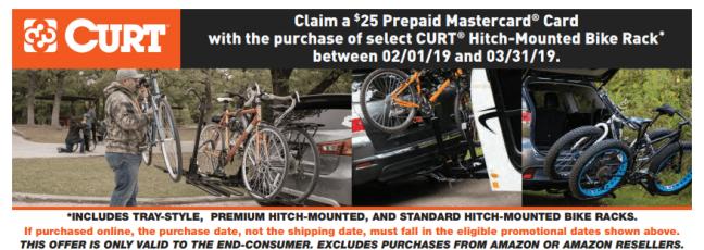 CURT 25 Card on Hitch Mounted Bike Rack