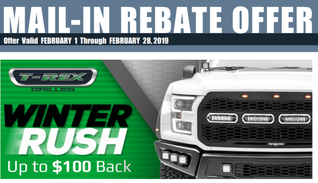 T-Rex Grilles: Get Up to $100 Back During Winter Rush Event