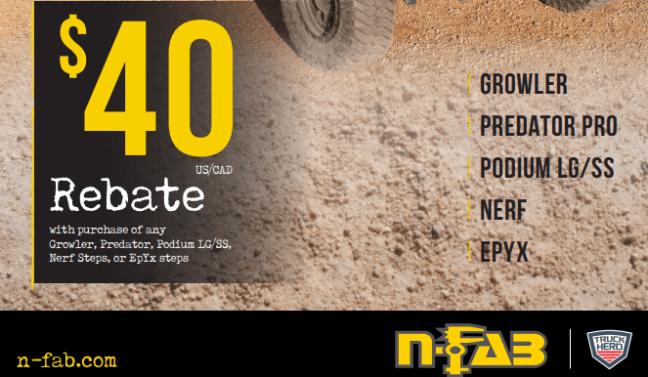 N-FAB $40 Rebate on Select Side Steps