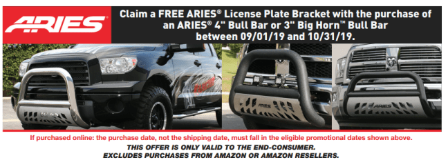 "ARIES: Get Free License Plate Bracket with 4"" Big Horn or 3"" Bull Bar Purchase"