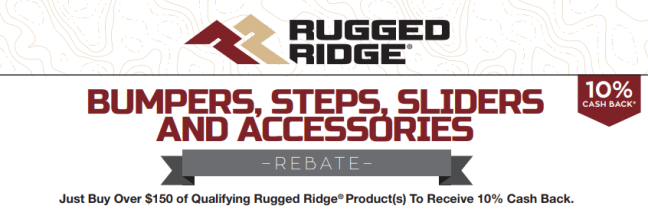 Rugged Ridge: Get $10% Back on Purchases of $150+ in Bumpers, Steps, Sliders, and Accessories