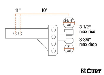 CURT (45903): Slim Adjustable Channel Mount with Dual Ball