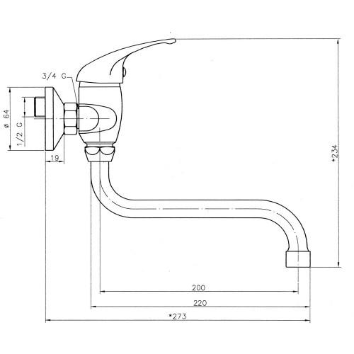 Baterie pentru lavoar-spalator cu fixare pe perete Ferro, Titania Iris