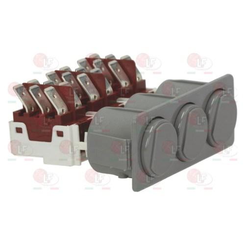 Intrerupator combinat rotund gri 1CO/1CO/1CO 250V 16A racord fișă plată masculină 6,3mm